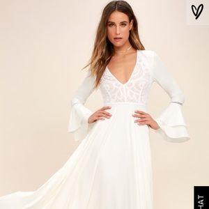Lulu's Long White Dress - Bell Sleeves